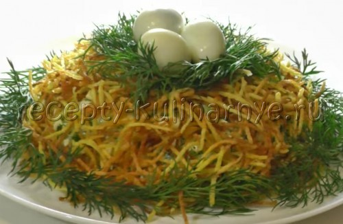 салат гнездо глухаря рецепт слоями с